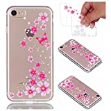 for iPhone 8 Case, Cover for iPhone 7, CrazyLemon Ultra Thin Transparent Soft TPU Clear Silicone Gel Skin Shell Varnish Technology Embossed 3D Creative Pattern Design Durable Shock Proof Scratch Resistant Rubber Protective Cover Case for iPhone 7 / iPhone 8 4.7 inch - Butterfly Flowers
