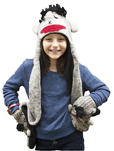 Kids All-in-one Winter Hat/Scarf/Mittens Monkey (Monkey Wool Mittens)