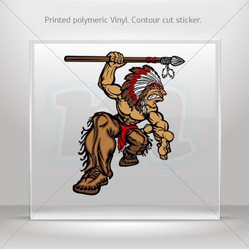 Decal Sticker Indian American Native Attack Garage Sports car Durable (4 X 3.36 (Barbarian Costume History)