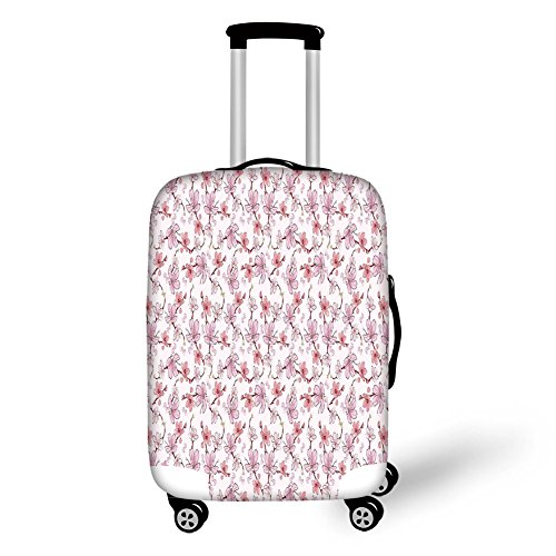 Travel Luggage Cover Suitcase Protector,Kitchen Decor,Cherry Sakura Flowers Romantic Branch Blossom Spring Petal Rose Vibrant Colored,Pastel Pink White,for Travel (Cherry Rockford)