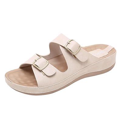 4ecac1a00fc52e GIANTHONG Womens Summer Casual Flip Flops Sandals Slippers Flat Beach Open  Toe Shoes Belt Buckle Casual