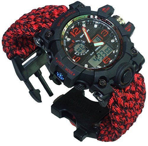 6-in-1 Water Resistant Survival Tactical Emergency Watch Bracelet Hiking Camping Kit 550-lb Military Grade Paracord Fire Starter Compass Whistle