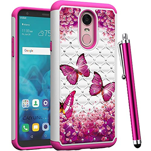 (CAIYUNL for LG Stylo 4 Case,LG Q Stylus Case,LG Stylus 4 Case Bling Luxury Studded Rhinestone Dual Layer Hybrid Protective Armor Heavy Duty Shockproof Hard Slim Cover for LG Stylo 4-Hot Pink Butterfly)