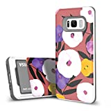 DesignSkin Slider Galaxy S8 Case with Slim Triple Layer Wallet Design Shockproof Bumper Cushion Card Slot Holder for Galaxy S8 Fashionable Smartphone Accessory Card holder (Flower)