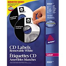 Avery Removable CD Labels for Laser Printers, White, Round, 50 Labels, Removable (5931)