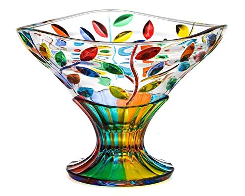 Murano Glass Flowervine Pattern Compote Bowl - Made And Hand Painted In Italy (Glass Compote Art)