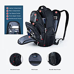 Laptop Backpack,Swissdigital Busniess Travel Polyester Backpack with USB Charging Port and RFID Protection Fits Under 15-Inch Laptop and Notebook for Man, Black …