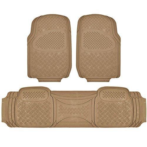 Door 4 Floor Tan Front (BDK MaxDuty Rubber Floor Mat for Car, SUV,Van & Truck - Super Heavy Duty Rubber , Trim to Fit & 3 Piece (Tan))