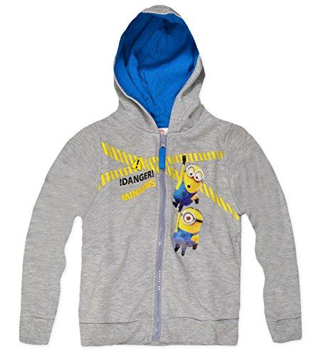 Boys Minions Zip Front Hoodie New Kids Fleece Lined Sweatshirt Tracksuit (Kids Minion Suit)