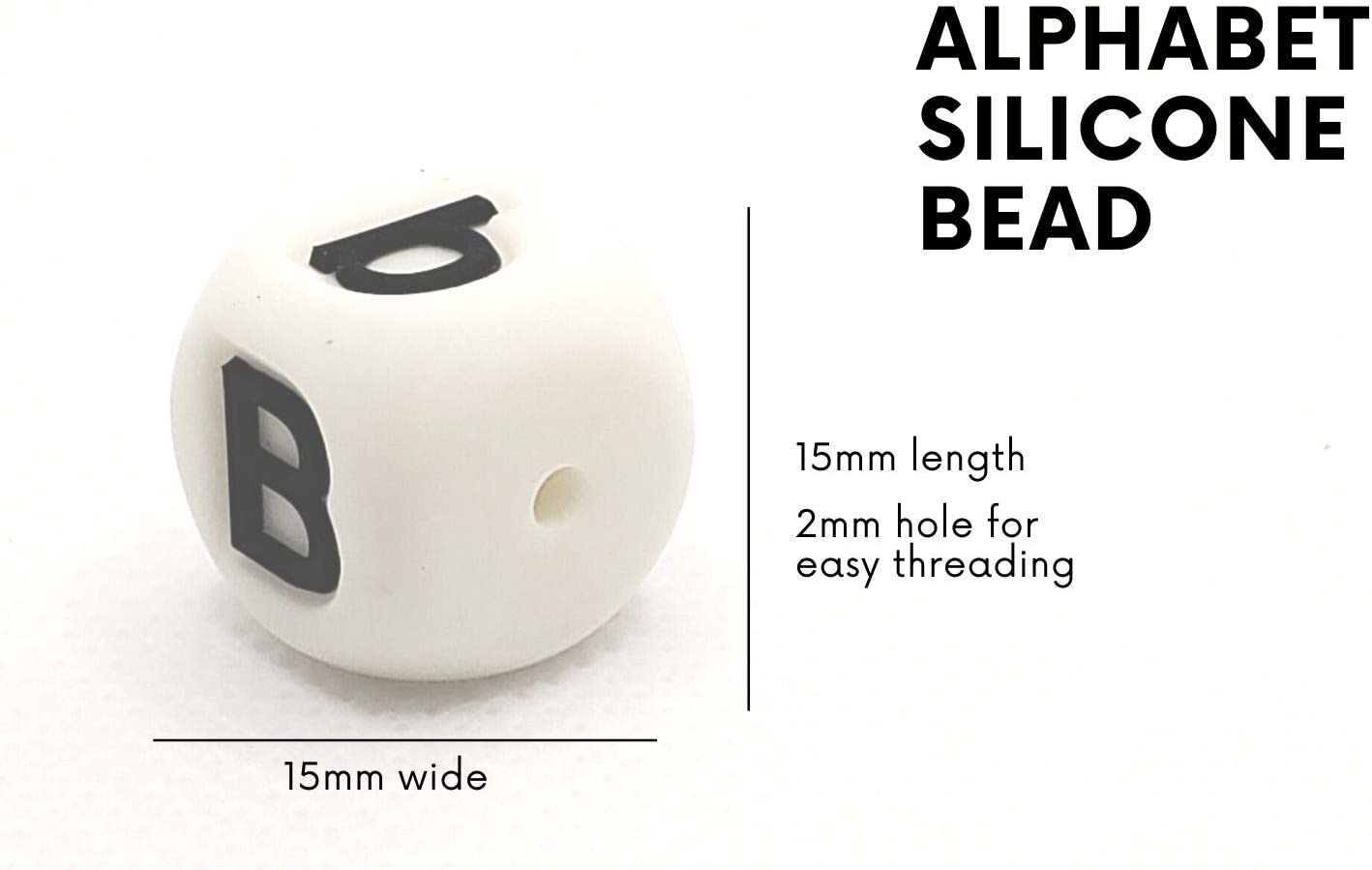 Silicone Alphabet Beads for Jewelry A-Z Silicone Letter Cubes 60 Pcs, 15mm Silicone Cube Bracelets /& Necklaces Letter Beads
