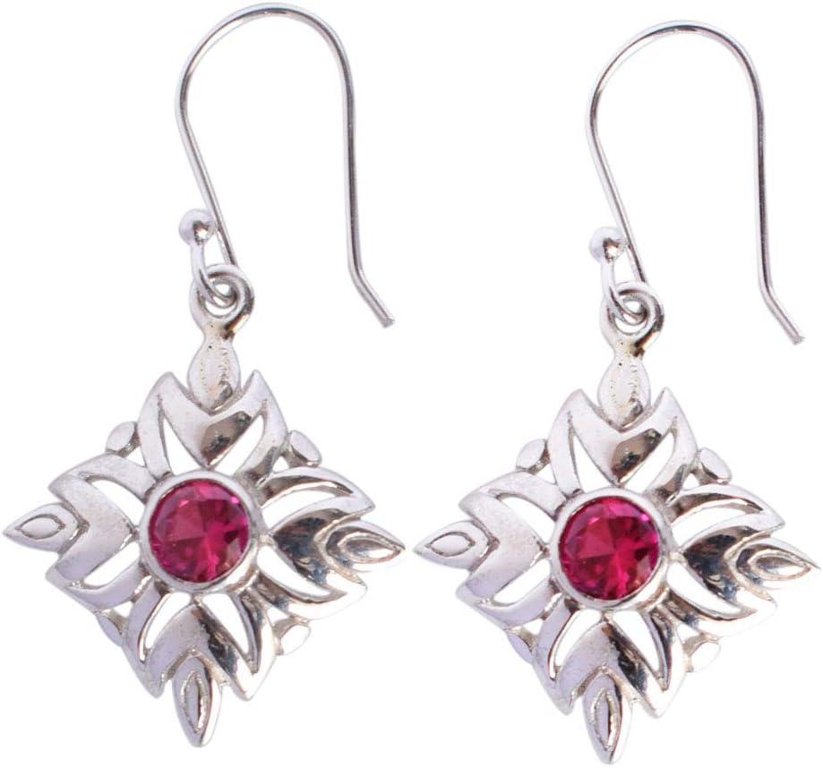 Pendientes de cuarzo rojo para mujer, hechos a mano, plata de ley 925 maciza, joyería de piedras preciosas FSJ-3235