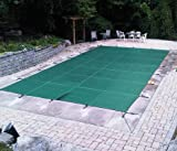 PoolTux Rectangular Safety Pool Cover for 16' x 32' In Ground Pool (16' x 32', Royal Mesh Green), 15 year Warranty
