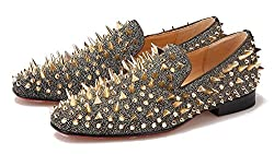 Rhinestones Spiked Loafers