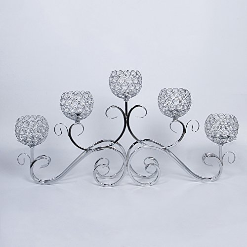 5 Head Crystal Wedding Centerpiece, Table Centerpiece, Candle Holder, Flower Holder