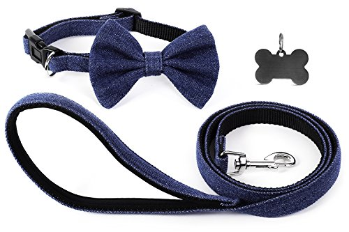Funky Berries Nylon Dog Leash with Padded Handle and Adjustable Dog Collar with Dog Bowtie Including Pet ID Tag Bone Shaped | Bow Ties for Dogs | Bowtie Dog Collar | Denim Dog Collar and Leash Set