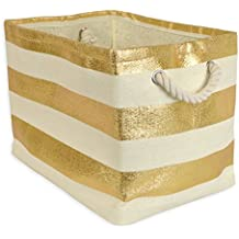 DII Woven Paper Storage Basket or Bin, Collapsible & Convenient Home Organization Solution for Office, Bedroom, Closet, Toys, Laundry (Small - 11x10x9�), Gold Rugby Stripe