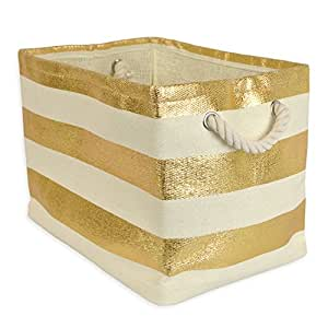 """DII Woven Paper Storage Basket or Bin, Collapsible & Convenient Home Organization Solution for Office, Bedroom, Closet, Toys, & Laundry (Medium - 15x10x12""""), Gold Rugby Stripe"""