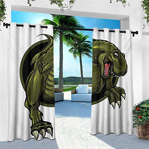 leinuoyi Jurassic, Porch Curtains Outdoor Waterproof, Roaring T rex Mascot Ancient Animal Horror Wildlife Wilderness Extinct, for Patio Furniture W72 x L96 Inch Olive Green Brown