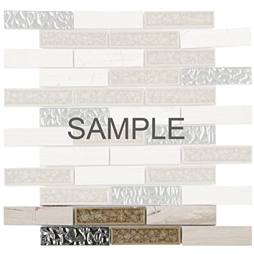 - Modket TDH160MO-S Sample White Oak Gray Marble Stone Mosaic Tile, Crackle Glass, Silver Glass Insert Blend Brick Joint Pattern Backsplash