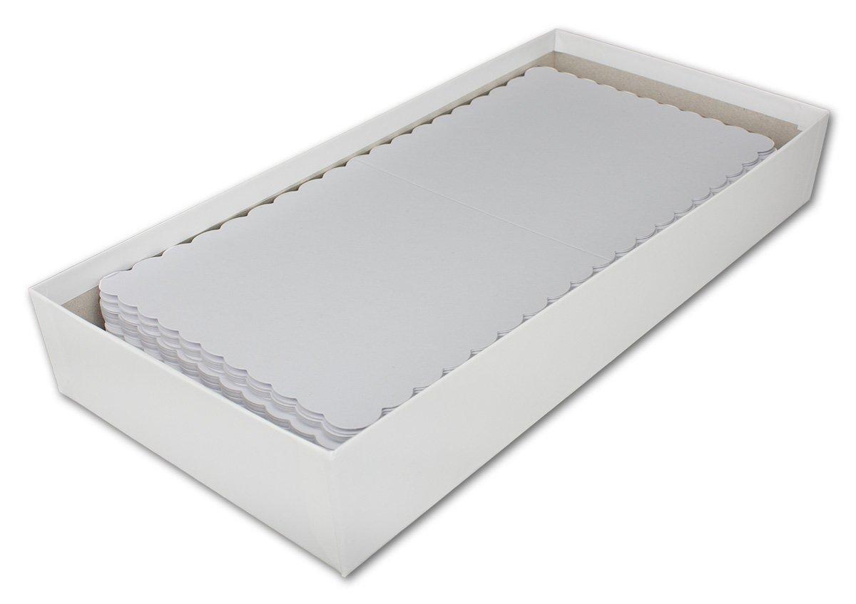 Plegable Tarjetas (Estuche Cuadrado de Tarjetas Plegable de Juego con Onda Interfaz & Carta de Sobres I 14,5 x 14,5 cm I Papel de Manualidades (Set I Gustav neuser®, Color Weiß 150 Sets c2277c