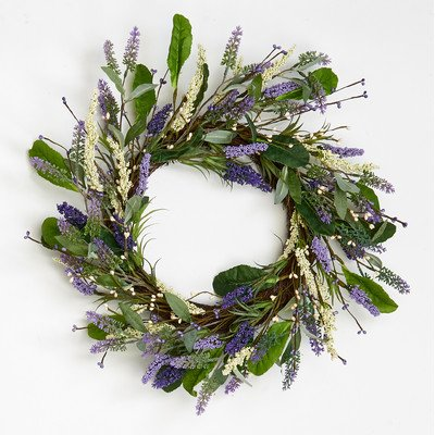 Worth Imports 20'' Lavender Wreath with Leaves On Twig Base by Worth Imports