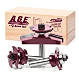 3 piece cabinet set - A.G.E. Series by Amana Tool MD508 Shaker Raised Panel Cabinet Door Making Carbide Tipped Router Bit Set with Back Cutter and 1/2-Inch Shank, 3-Piece
