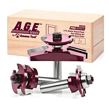 Image of A.G.E. Series by Amana Tool MD508 Shaker Raised Panel Cabinet Door Making Carbide Tipped Router Bit Set with Back Cutter and 1/2-Inch Shank, 3-Piece Door & Window Bits