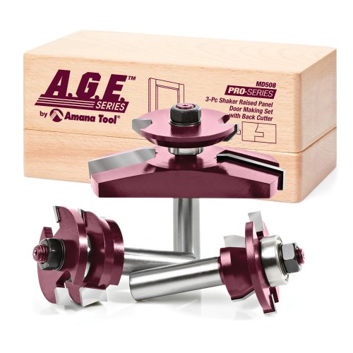 - A.G.E. Series by Amana Tool MD508 Shaker Raised Panel Cabinet Door Making Carbide Tipped Router Bit Set with Back Cutter and 1/2-Inch Shank, 3-Piece