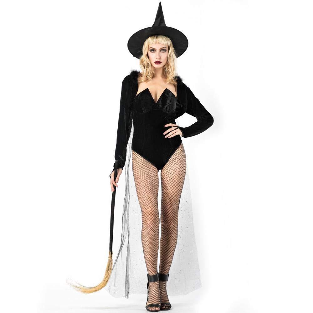 Yunfeng Hexenkostüm Damen Halloween schwarz beschnitten Hexe Kostüm Maskerade Partei Vampir Kostüm