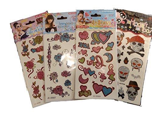 Damen Glitzer temporäre Tattoos in 3 Verschiedene Design - 3-Karte wird in zufällige Auswahl.