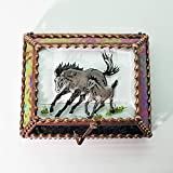 Equine Mare & Foal, Horse Stained Glass Jewelry Box, Presentation Box, Keepsake Box, Glass Jewels, Swarovski Crystals, USA Made