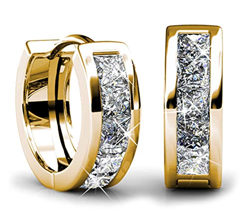 Jade Marie BREATHTAKING Small Gold Huggie Hoop Earrings, 18k Yellow Gold Plated Tiny Hoops with Princess Cut Swarovski Crystals, Mini Hoop Hypoallergenic Earrings for Women, Gifts for Girls, -