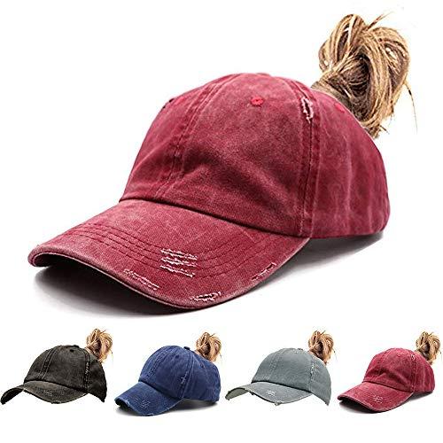 - Womens Ponytail Hat Vintage Washed Messy High Buns Ponycaps Baseball Trucker Cotton Adjustable (D2-Burgundy(High Ponytail hat))