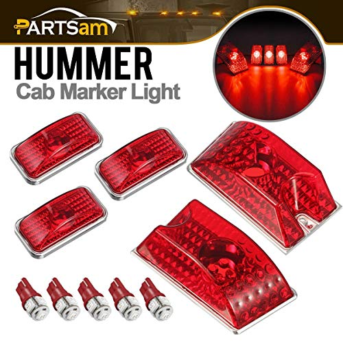 Partsam 5PCS 264160R Red Lens Cab Marker Roof Top Crystal Chrome Lights+5PCS 194 168 W5W Red T10 LED Bulbs Compatible with Hummer H2 SUV SUT 2003 2004 2005 2006 2007 2008 2009