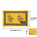 Xtore ® Cotton Traditional Jaipuri Print King Bed Sheet with 2 Pillow Covers (90x 108 inches, Yellow)