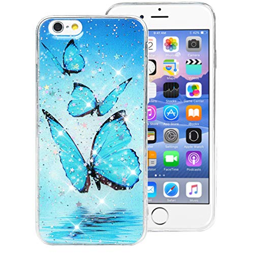 iPhone 6s Case, Super Pretty Cute Butterfly Glitter Bling Sparkle Sequins Case with Slim Soft Shockproof TPU Bumper Rubber Silicone Case Cover for iPhone 6s&6 Women Girls ()