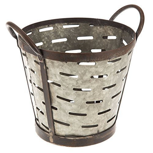 Vintage Metal Olive Bucket (Farmhouse Ranch Home Decor) Flower Pot