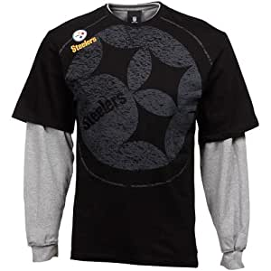 Reebok Pittsburgh Steelers Youth Touchdown Double Layer Long Sleeve T-Shirt - Black (Large)