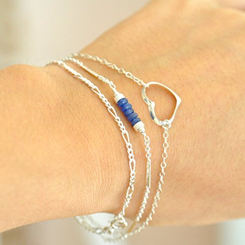 Set of 3: Blue Sapphire Bracelet & Sterling Silver Chain Bracelet, Sterling Silver Heart charm Bracelet, Bracelet, Gift For Her, September Birthstone Jewelry