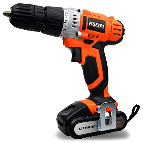 KSEIBI KSR12-1E-LI Cordless Drill Kit Driver with 20V Max Lithium-Ion Battery 2.0Ah & 265 In-lbs Max Torque W/2-Speed by KSEIBI