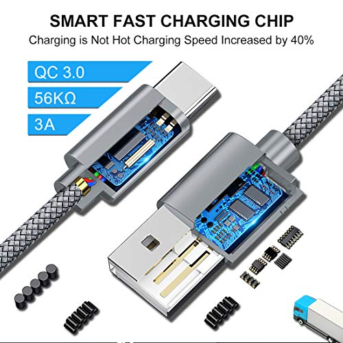 5-Pack USB C Cable Fast Charge [3/3/6/6/10 ft], CLEEFUN Nylon Braided Type C Charger Charging Cord Compatible with Samsung Galaxy S20 S10 S10e S9 S8 Plus S9+ S10+, Note 20 10 9 8, LG G8 G7 G6 V30 V40