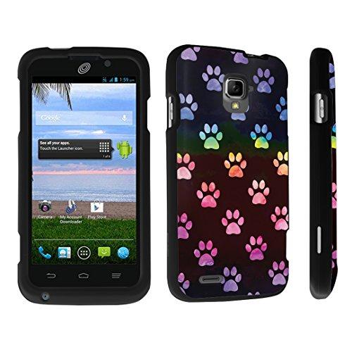 DuroCase ZTE Rapido LTE Z932L / Z932C Hard Case Black - (Watercolor Rainbow Paw - Zte Lte Cover Phone Rapido For