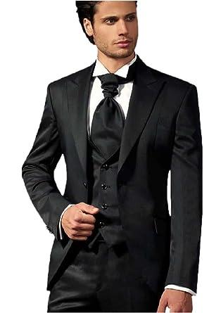 Men\'s Black Suit Wedding Best Men Groomsmen Suits Jacket Pants Vest ...