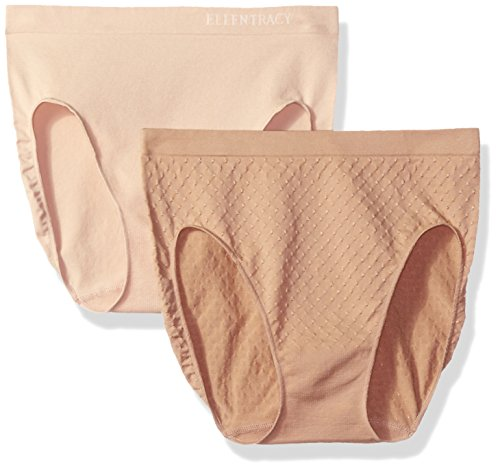 Ellen Tracy Women's Dot Jacquard Hi Cut Panty 2 Pack, Latte/Sun Beige, S