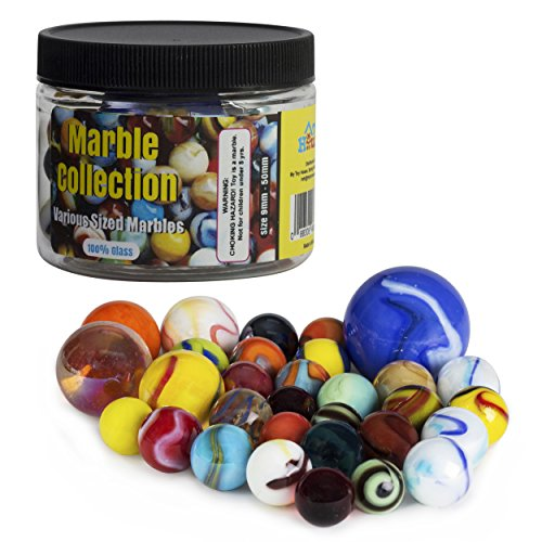 (My Toy House Glass Marbles with Portable Container (Assorted Sizes and Colors))