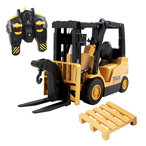 deAO RC Forklift Front Loader Construction Truck with Lights and Sounds Includes Toy Pallet and Hook (Model 2in1)