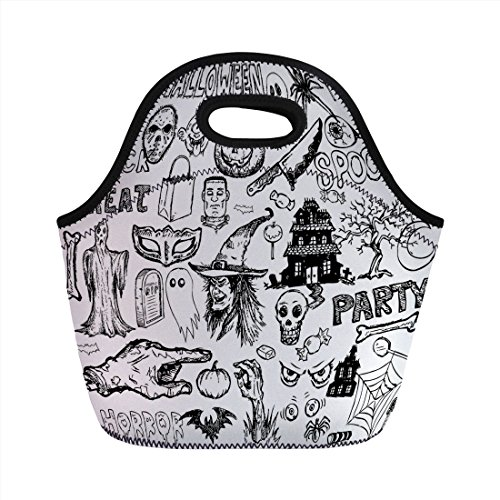 Neoprene Lunch Bag,Vintage Halloween,Hand Drawn Halloween Doodle Trick or Treat Knife Party Severed Hand Decorative,Black White,for Kids Adult Thermal Insulated Tote Bags ()