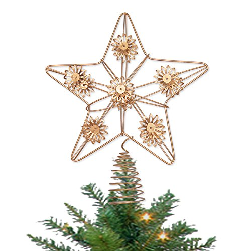 LimBridge Christmas Flower Star Tree Topper, 9-Inch Gold Treetop Moravian Lighted Star