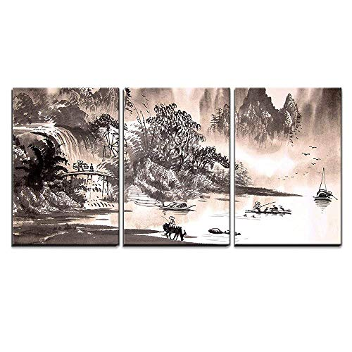 (wall26 - 3 Piece Canvas Wall Art - Chinese Landscape Watercolor Painting - Modern Home Decor Stretched and Framed Ready to Hang - 24