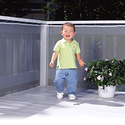 Child Safety Net Stair Safety Net,Balcony Protection Net Thickened Safety Net Children Anti-Fall Net Use for Balcony Railing Stairs Indoor, Outdoor, Terrace or Balcony 10ft L x 3ft H | Pearl White